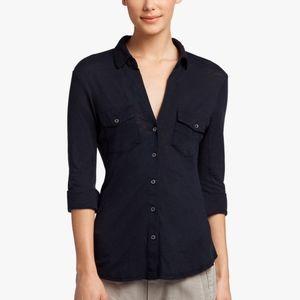 James Perse Sheer Slub Side Panel Shirt Black 2